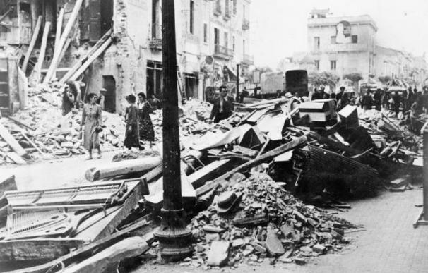 Imagen del efecto de bombardeos italianos sobre la ciudad de Granollers