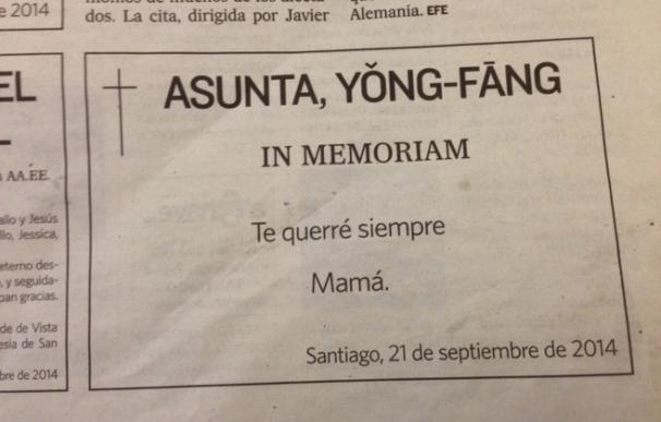La esquela de Asunta publicada por su madre en el primer aniversario de su muerte