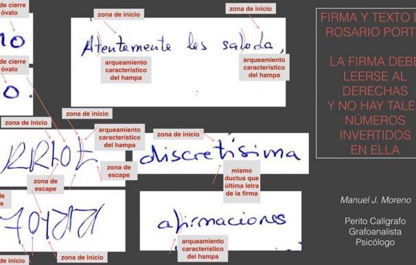 Análisis facilitado por el perito caligráfico y grafoanalista psicólogo, Manuel J. Moreno