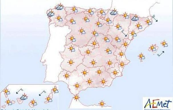 Intervalos nubosos en los pirineos occidentales, noreste de Cataluña y Mallorca