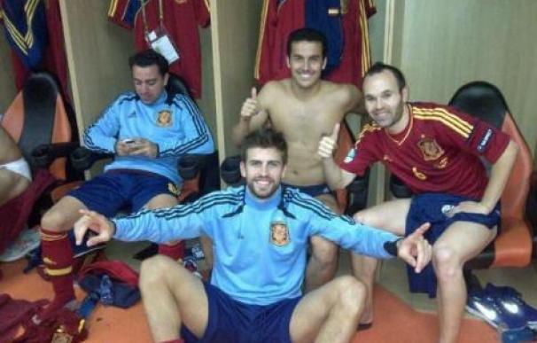 La foto que Piqué subió a Twitter en la que se ve a los jugadores celebrando el pase a la final
