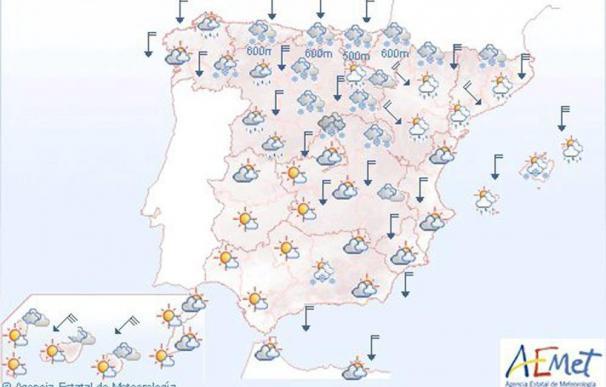 Lluvias persistentes en el Cantábrico y nevadas en la mitad norte