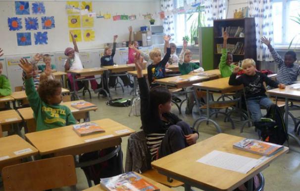 Niños en una escuela de Finlandia