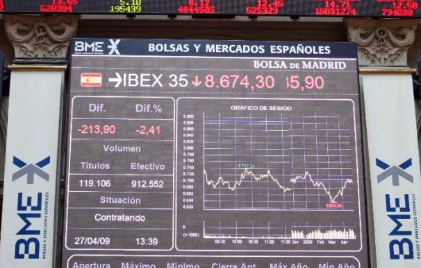 La bolsa española opta por las pérdidas y el IBEX cede el 0,27 por ciento a mediodía