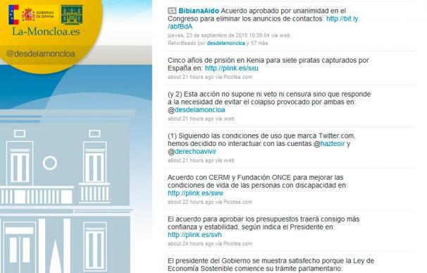 Captura de la cuenta en Twitter de La Moncloa