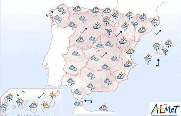 Cielos nubosos en el nordeste peninsular y lluvias fuertes en norte Baleares