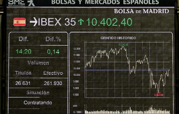 La Bolsa española reduce los descensos y el IBEX cae el 0,50 por ciento a mediodía