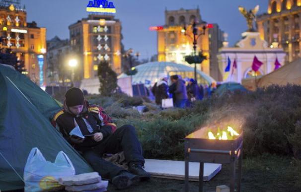 """""""Viktor Yakunovich no se merece liderar nuestro país, estamos hartos"""", explica un manifestante."""