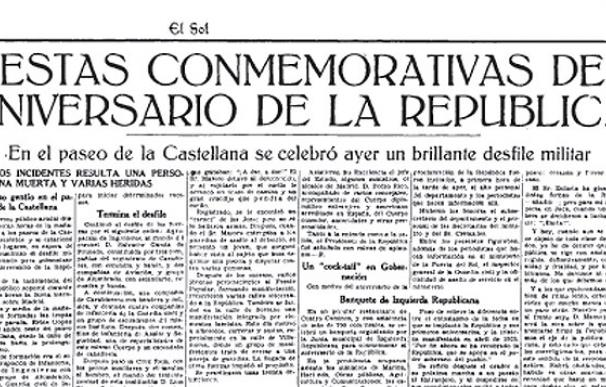 Noticia del diario El Sol del 15 de abril de 1936