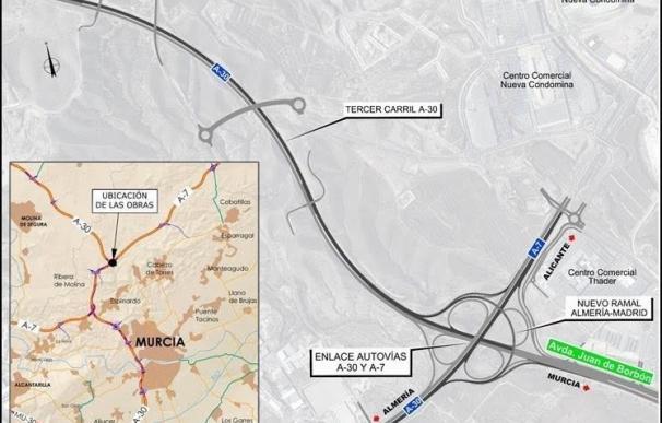 La remodelación del enlace entre la A-7 y la A-30 obligará al cierre del movimiento Alicante-Albacete la próxima semana