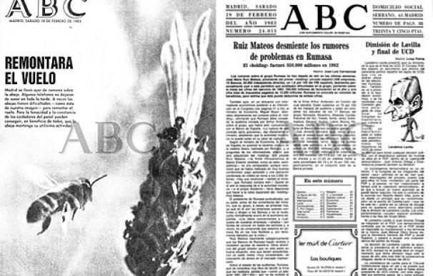 Portada e información de ABC de febrero de 1983 sobre Rumasa
