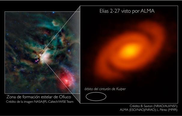 Brazos en espiral ocultos abrazan una joven estrella