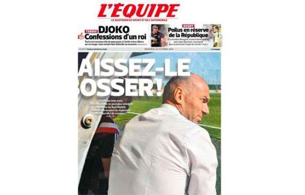 Zidane es portada de 'LEquipe'