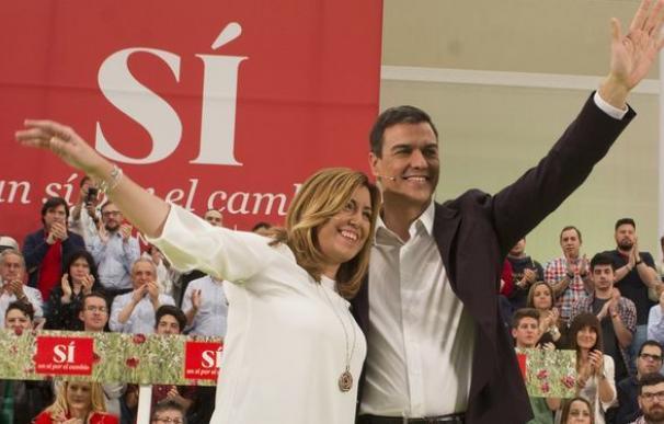 Susana Díaz y Pedro Sánchez en la época de vino y rosas