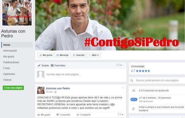 Partidarios de Pedro Sánchez en Asturias muestran su apoyo en las redes sociales bajo el lema '#ContigoSiPedro'