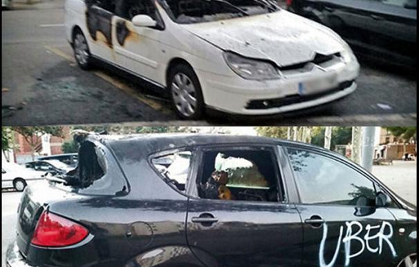 Los dos vehículos de Uber que han aparecido quemados en Barcelona