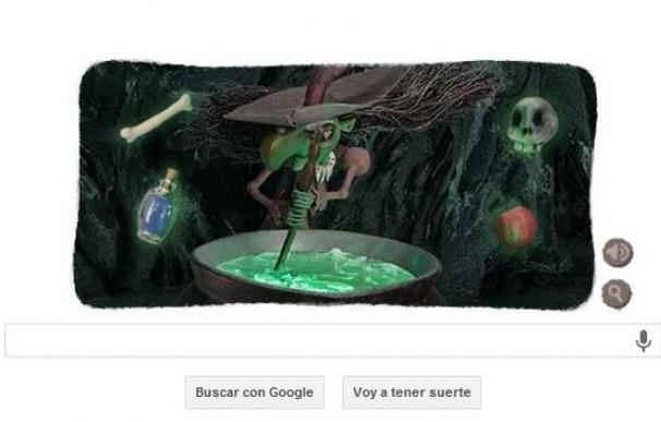 La bruja de Halloween prepara una pócima en el último doodle de Google