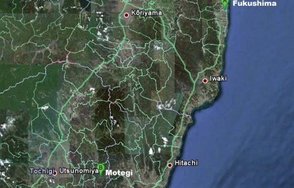 Mapa de Japón con la distancia entre Motegi y Fukushima