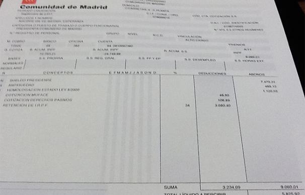 Aguirre hace pública su nómina y cobra al mes 5.825,92 euros netos