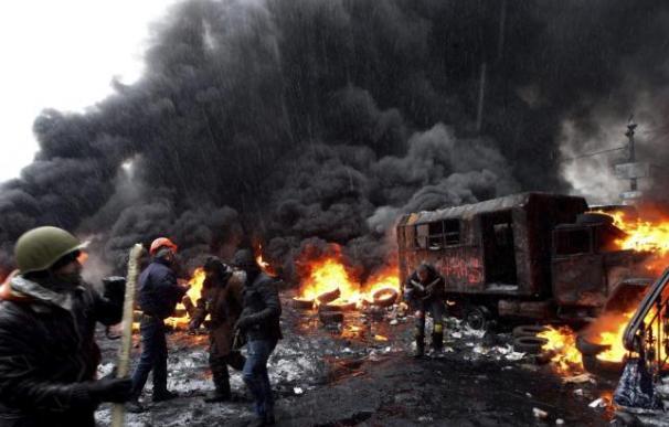 Protestas en las calles de Kiev.