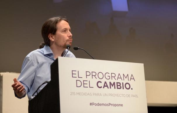 El líder de Podemos, Pablo Iglesias, ayer, en la presentación del programa.