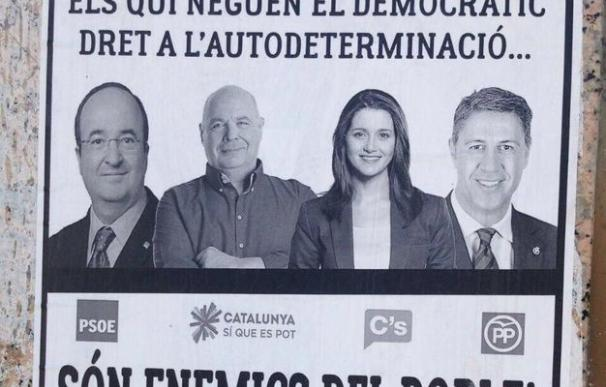 Carteles contra políticos catalanes.