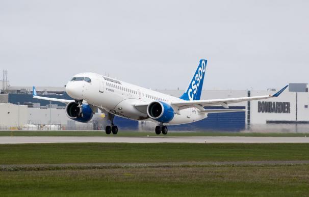 Imagen del avión modelo CS300 realizado por Bombardier
