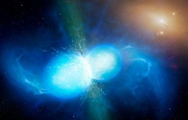 La colisión de dos estrellas de neutrones.