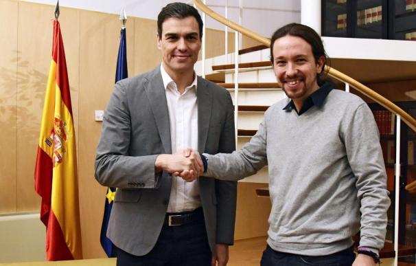 Pablo Iglesias y Pedro Sánchez durante uno de sus últimos encuentros