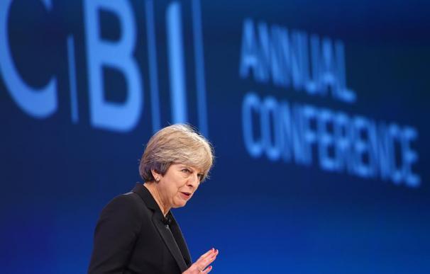 La primera ministra británica, Theresa May, durante el congreso anual de la Confederación de la Industria Británica