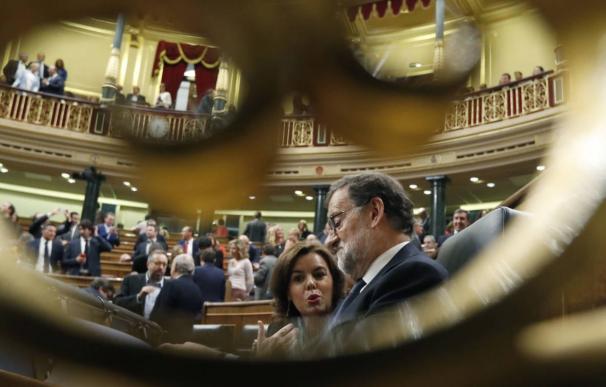 Rajoy y Sáenz de Santamaría en el Congreso.