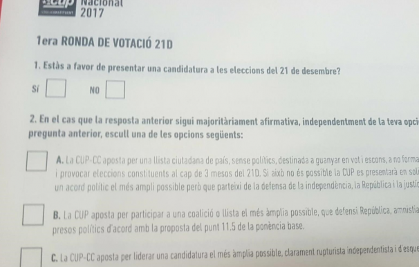 """La asamblea de la CUP decide concurrir a las elecciones """"ilegítimas"""" del 21-D"""