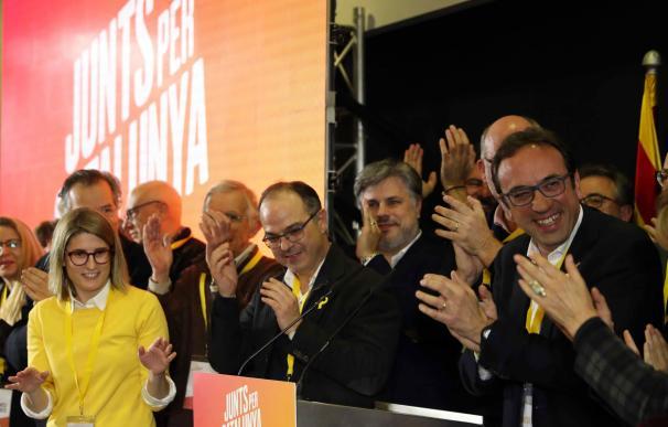 Jordi Turull y Josep Rull celebran los resultados de las elecciones