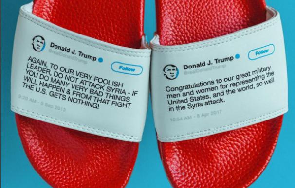 Las chanclas que se mofan de los tuits contradictorios de Donald Trump en Twitter