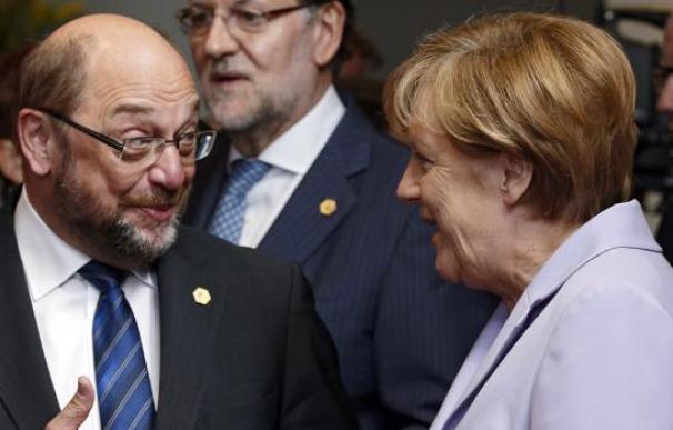 Fotografía de Angela Merkel y Martin Schulz