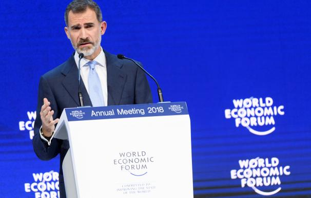 Felipe VI durante su intervención en Davos