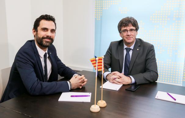 Carles Puigdemont y Roger Torrent durante su reunión en Bruselas