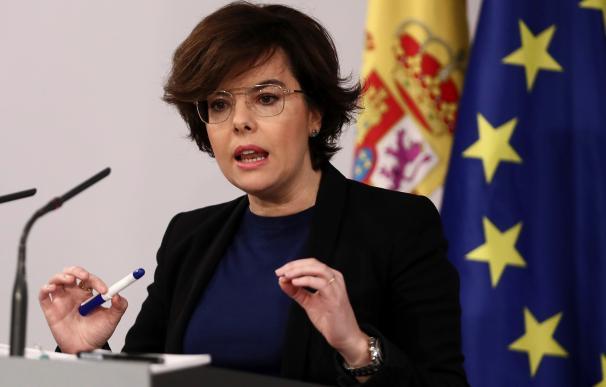 Soraya Sáenz de Santamaría durante su comparecencia