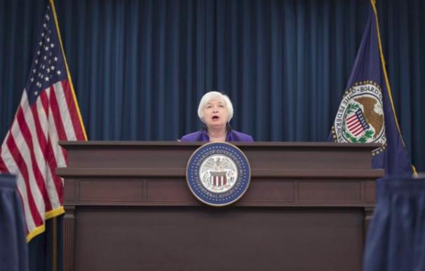 La presidenta de la Reserva Federal (Fed), Janet Yellen, en una rueda de prensa