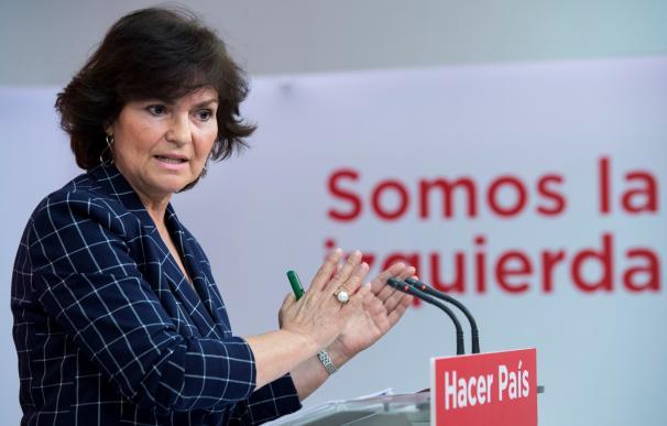 Carmen Calvo, en la presentación de la iniciativa.