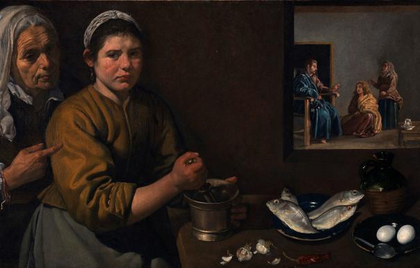 Fotografía facilitada por el palacio de Bellas Artes (Bozar) de Bruselas de la obra de Velázquez 'Cristo en casa de Marta y María' (1618) EFE