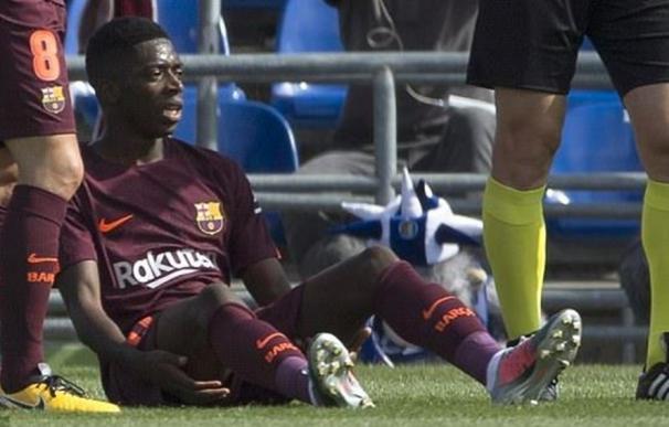 Dembelé, jugador francés del Barça, tuvo una lesión muscular frente al Getafe. EFE