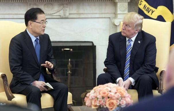 El consejero de seguridad nacional de Corea del Sur, Chung Eui-yong, trasladó a Trump el mensaje de Kim Jong-un