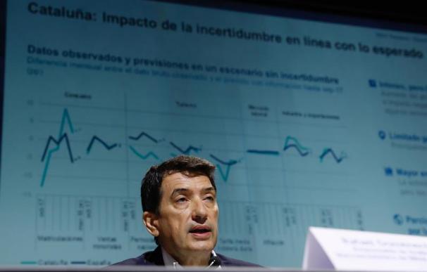 El responsable de Análisis Macroeconómico de BBVA Research, Rafael Doménech, durante la presentación.