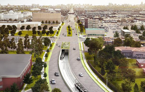 Recreación artística del proyecto de Metro Ligero Finch West