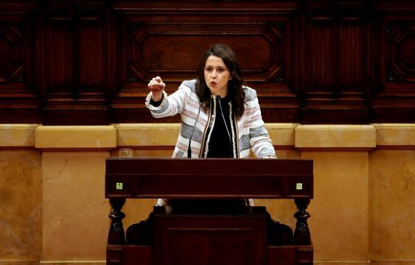 La líder de Ciudadanos, Inés Arrimadas, durante su intervención (EFE/Alberto Estévez)