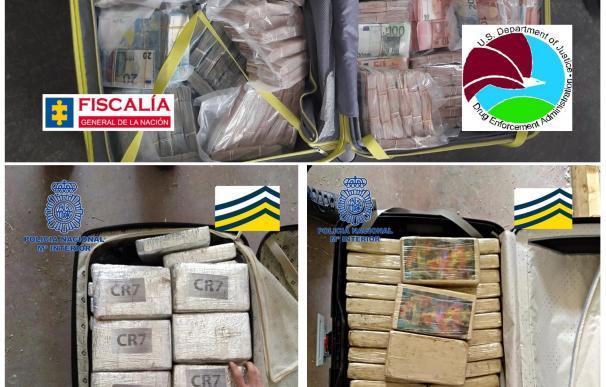 Combo de fotografías facilitadas por la Policía Nacional que ha detenido a cinco integrantes de una mafia albanesa, entre ellos a su líder, dedicada a introducir cocaína oculta en grandes maletas desde Colombia hasta España