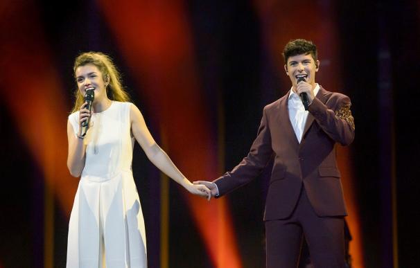 Amaia y Alfred en su primer ensayo en Eurovisión