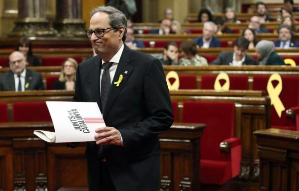 Quim Torra durante el pleno del Parlament