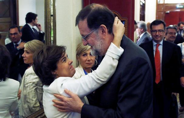 Soraya Sáenz de Santamaría se despide de Mariano Rajoy